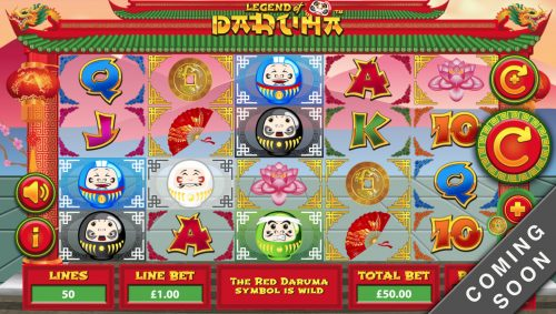 daruma legend fan coin lotus flower dragon royal asian game slot