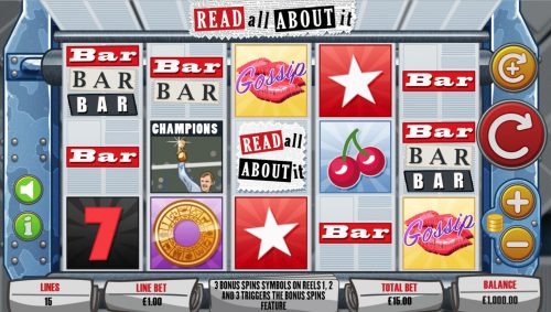 read all about it newspaper news sport cherry kiss replicating reels bonus free spins spin free mutuel play mutuel play slot bar bonus spin print print machine scatter wilds