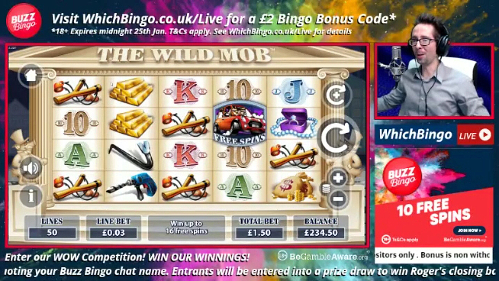 roger live play the wild mob at which bingo