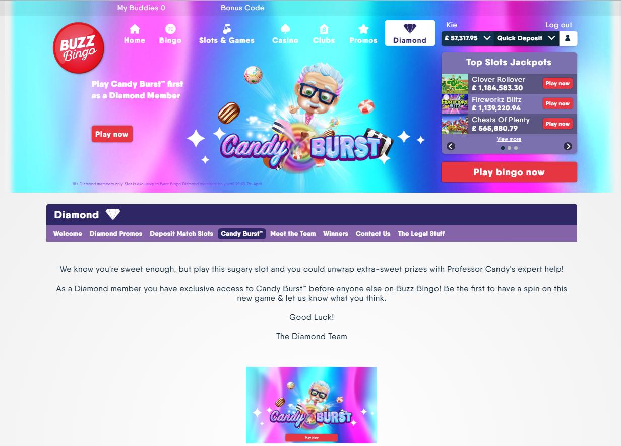 candy burst buzz bingo launch fun candy sweets slot reel