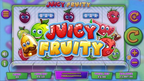 juicy fruity juicy fruit fruits apple cherry strawberry melon bar joker one hand bandit lemon fruit bar bonus round bonus round triple fill