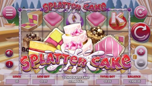 splatter cake splatter cake slot big win mega win win ultra win free free spins clear symbols pick a cake pick bonus victoria sponge battenberg chocolate cake fondant fancy wedding cake spin spins